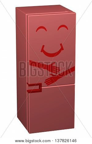 Red smiling refrigerator isolated on white background. 3D rendering.