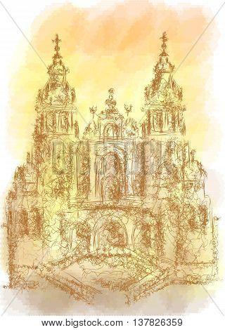 Santiago de Compostela. abstract illustration on multicolor background