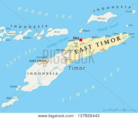 East Timor political map with capital Dili, national borders, important cities and rivers. Sovereign state in Southeast Asia bordered to Indonesia. English labeling.