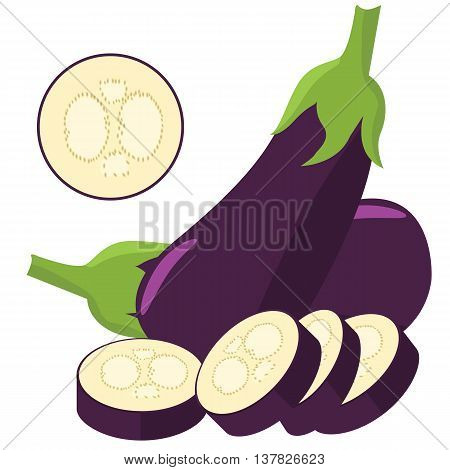 Eggplant with slice isolated solid background color. Illustrated vector with flat color style design.