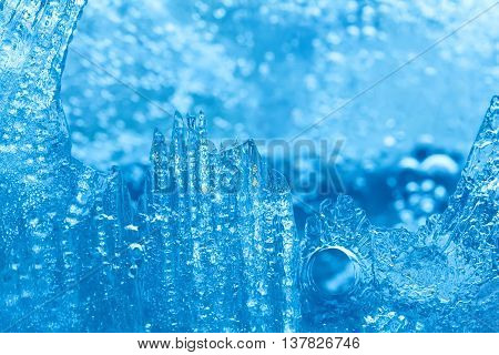 Frozen ice macro view. Icy pattern background. macro view photo