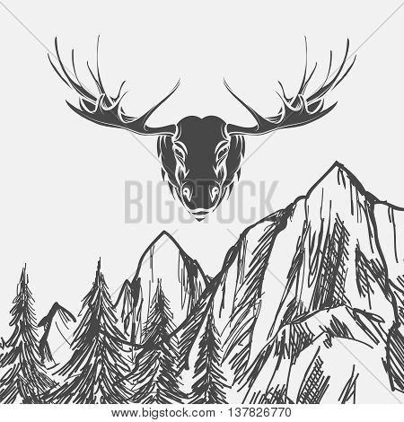 Nature background with hand drawn forest and elk. Vector illustration
