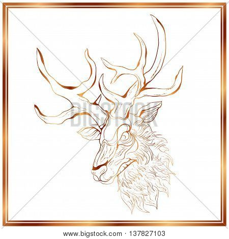 Bronze deer on the white background. Deer in a bronze frame. Hand-drawing illustration.