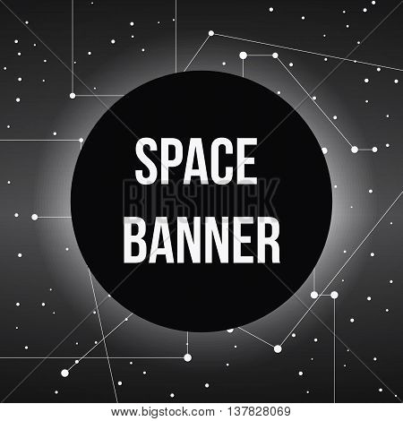 black round banner on pace stars map with lines, vector background
