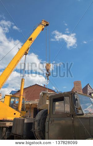 boom truck crane with hanging hook. A close up