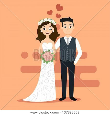 Vector illustration of young happy newlyweds bride and groom. Just married couple. Illustration for print web.