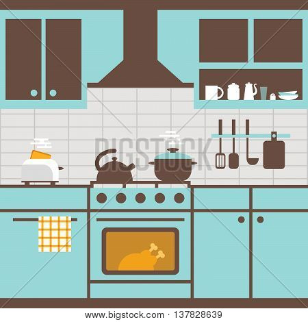 Vector illustration of kitchen with furniture. Kitchen utensilscooker kitchen furniture toaster. Food cooking room. Flat style for web analytics graphic design.