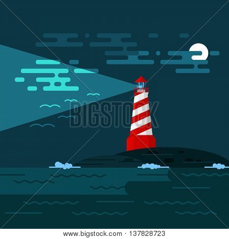 Vector background with lighthouse sea waves an night. Searchlight tower in ocean. Dark night and moon in clouds. Birds in the sky. A lighthouse illuminates the sky birds and clouds at night.