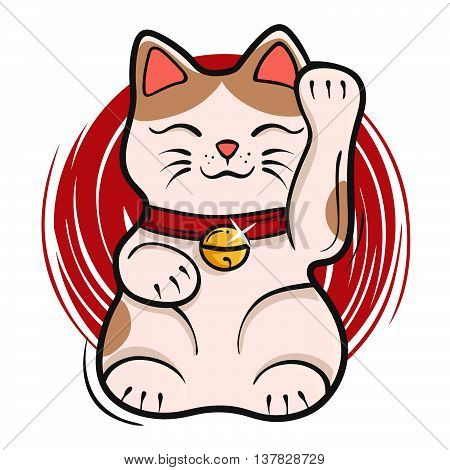 Vector illustration of maneki neko. Japanese lucky cat fortune symbol cartoon kitty toy. Symbol of luck prosperity and success.