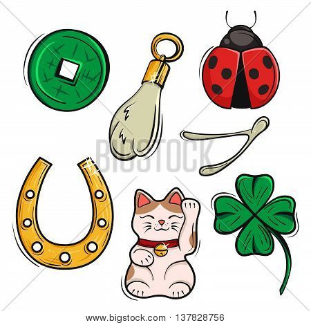 Vector set of Lucky Charms Symbols and Talismans. Vector Illustration. Symbols of luck prosperity and success.