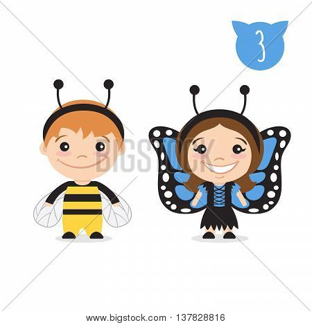 Vector illustration of two happy cute kids characters. Boy in bumblebee costume and a girl in butterfly costume.