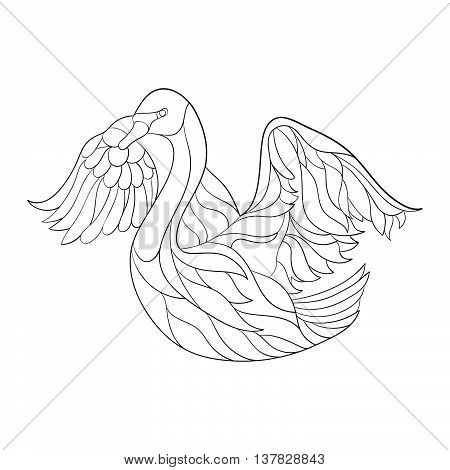 Vector monochrome hand drawn zentagle illustration of swan. Coloring page isolated on white background. Boho style. Design for T-shirt greeting card or poster.