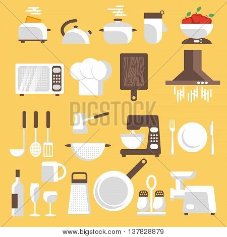Vector illustration of kitchen tools ware and utensils. Flat style for web analytics graphic design.