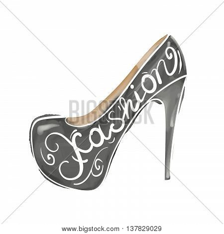 Vector hand drawn watercolor illustration of an elegant woman shoes. High heels pump shoes with the word