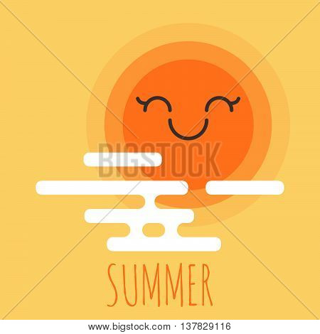 Vector illustration of cartoon summer background with happy smiley sun and clouds. Summer holiday design element for summer beach summer camp logo or summer sale. Design for banner or web.