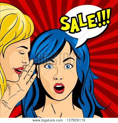 Vector pop art surprised woman face with open mouth and girl whispering something to her. Speech bubble and the word