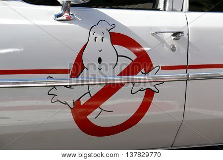 Ecto-1 at the World premiere of 'Ghostbusters' held at the TCL Chinese Theatre in Hollywood, USA on July 9, 2016.