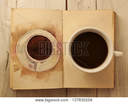 A photo of a cup of dark coffee on a page of an open old book with a watercolor drawing of a coffee cup on the next page shot from above and toned in sepia