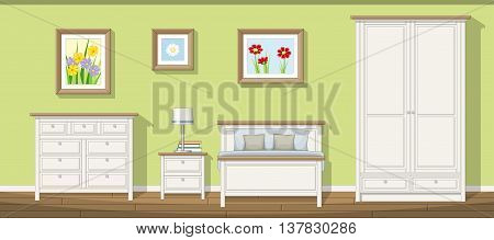 Illustration of a classic bedroom, vector illustration