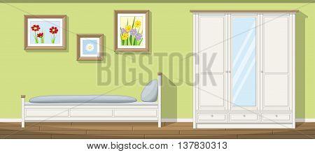 Illustration of a classic bedroom, vector illustration