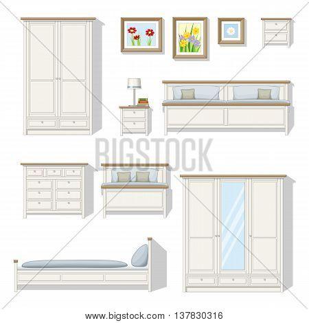 Set of classical bedroom furniture, vector illustration