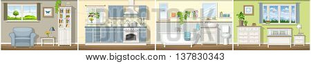 Illustration with four classic residential interiors panorama, vector illustration