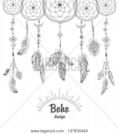 Background with Native American Indian Talisman Dream catcher and Feathers. Vector Ethnic Design, Boho Style.