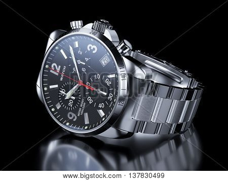 Men`s Chrome Wristwatch On Black Background. 3D Illustration