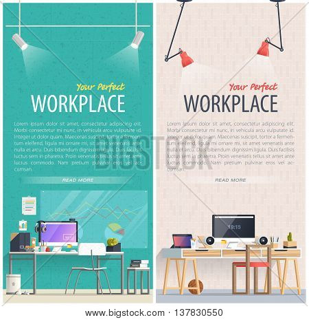 Office workplace illustration. Two Flat design banners for education training courses e-learning distance training. Abstract & Geometric style. Business concept. Marketing & management