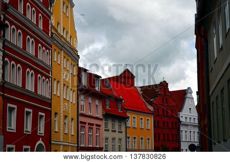 old street and houses of old town in stralsund germany