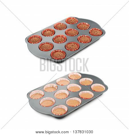 Metal muffin cupcake tray pan filled with dough, before and after cooking, composition isolated over the white background