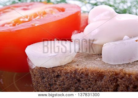 Onion rings on a piece of black bread on the background of the tomato