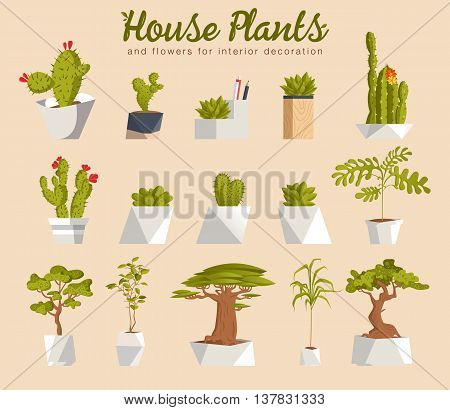 House plants and flowers for interior decoration flat icons. Collection of indoor plants. Vector illustration.