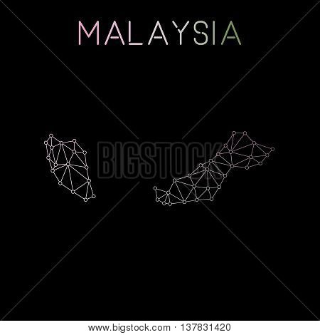 Malaysia Network Map. Abstract Polygonal Map Design. Network Connections Vector Illustration.