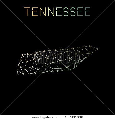 Tennessee Network Map. Abstract Polygonal Us State Map Design. Network Connections Vector Illustrati