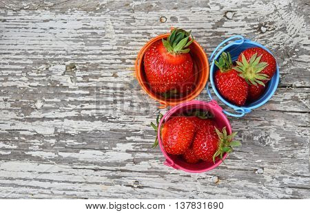 Three Small Colorful Buckets Full Of Strawberry