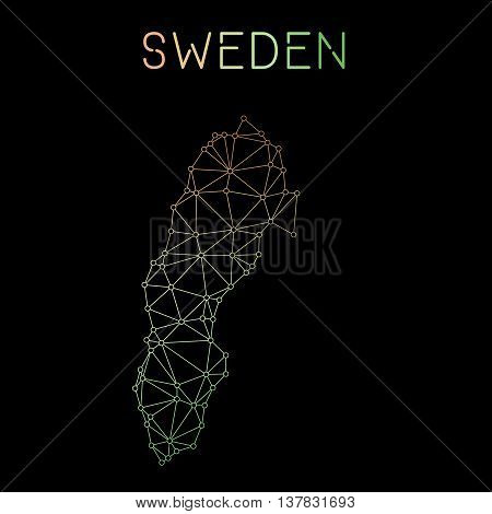 Sweden Network Map. Abstract Polygonal Map Design. Network Connections Vector Illustration.