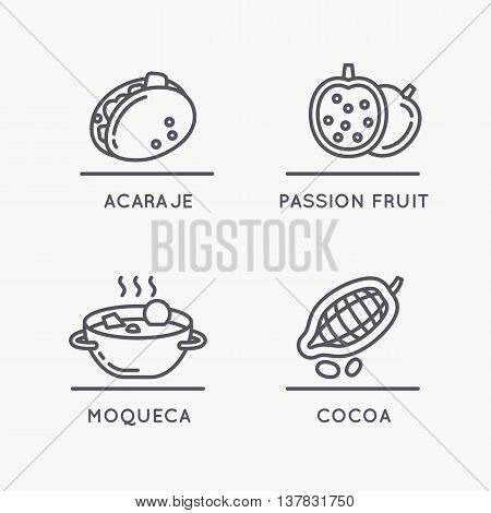Brazilian culture linear icons set. National food and fruit.