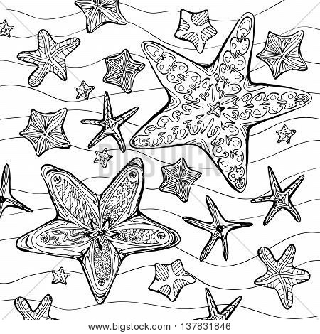 Coloring page with hand drawn pattern with starfishes in sketch style