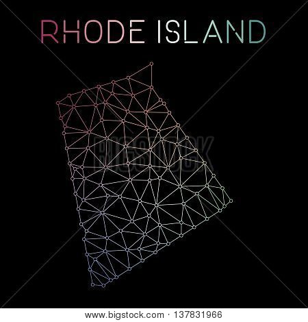 Rhode Island Network Map. Abstract Polygonal Us State Map Design. Network Connections Vector Illustr
