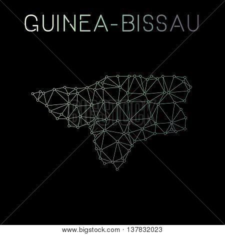 Guinea-bissau Network Map. Abstract Polygonal Map Design. Network Connections Vector Illustration.