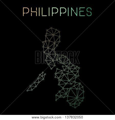 Philippines Network Map. Abstract Polygonal Map Design. Network Connections Vector Illustration.