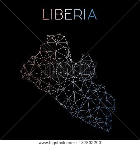 Liberia Network Map. Abstract Polygonal Map Design. Network Connections Vector Illustration.