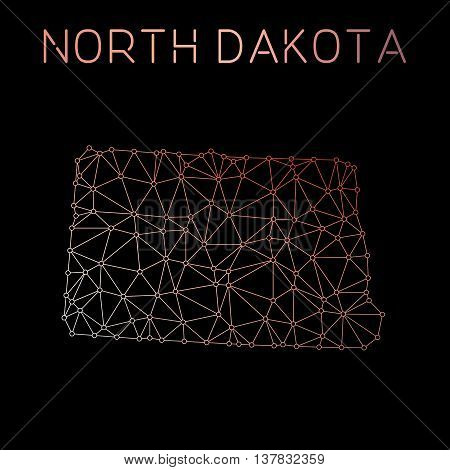 North Dakota Network Map. Abstract Polygonal Us State Map Design. Network Connections Vector Illustr