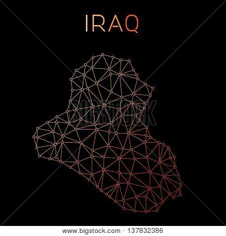 Iraq Network Map. Abstract Polygonal Map Design. Network Connections Vector Illustration.