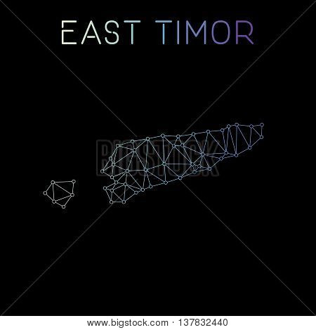 Timor-leste Network Map. Abstract Polygonal Map Design. Network Connections Vector Illustration.