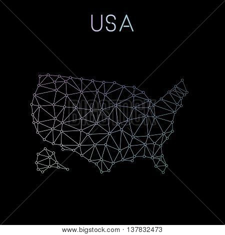 United States Network Map. Abstract Polygonal Map Design. Network Connections Vector Illustration.