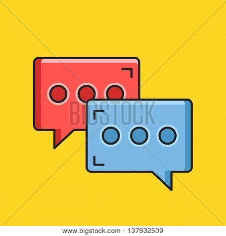 Vector chat icon. Blue and red message signs. Instant messaging concept. Thin line flat design. Vector icon