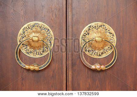 Ancient door in historic building