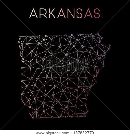 Arkansas Network Map. Abstract Polygonal Us State Map Design. Network Connections Vector Illustratio